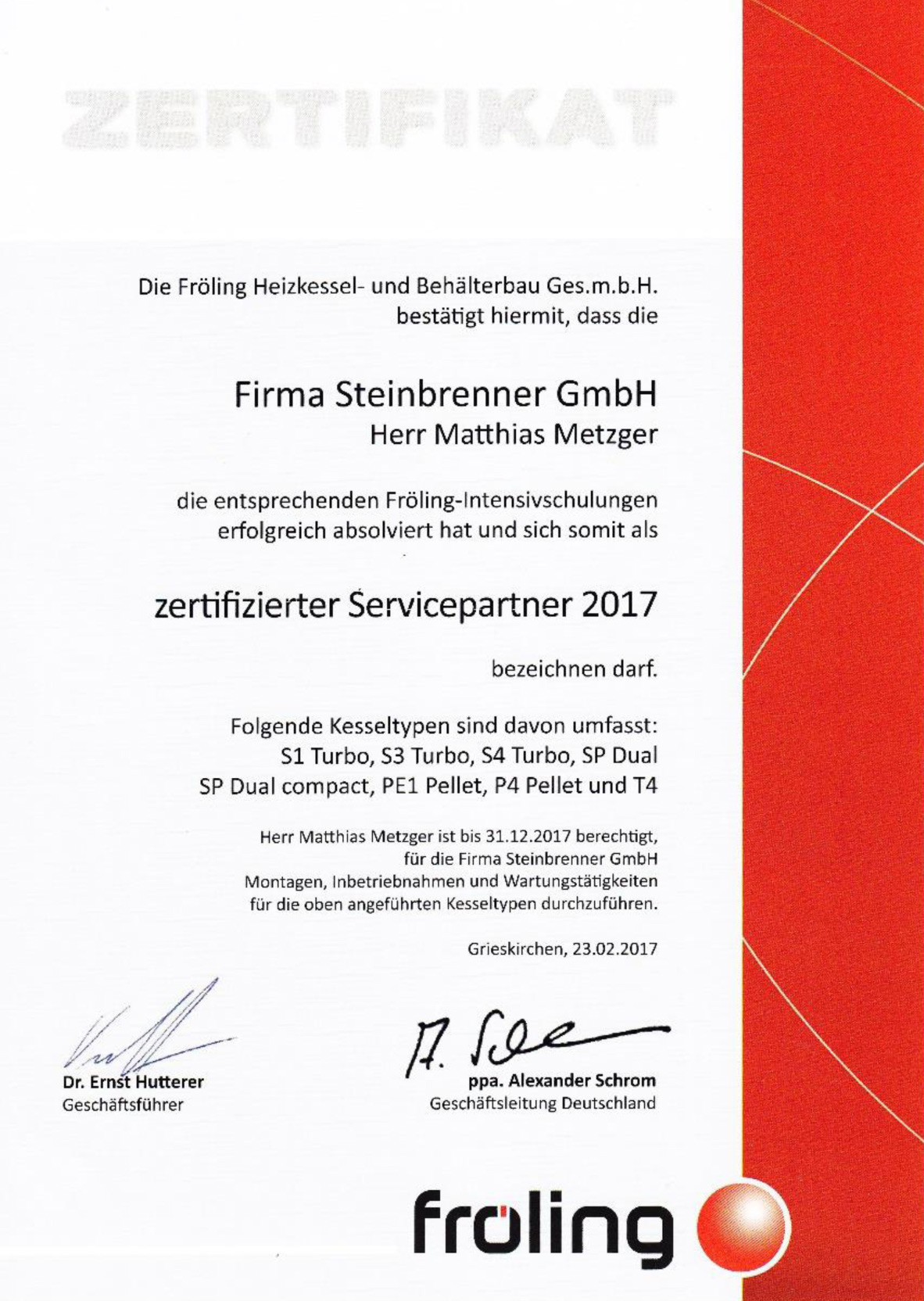 Haustechnik Zertifikat Heizkessel Behälterbau